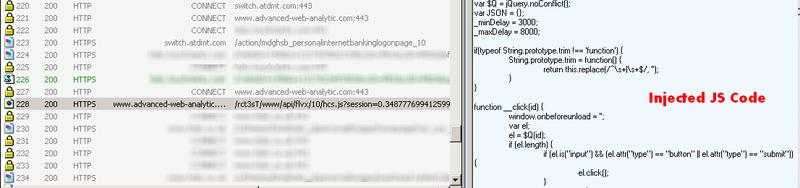 Figure 7: Fiddler dump, describing the browser access to the hostile server