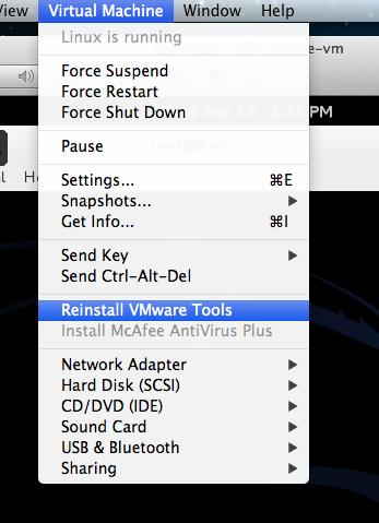 reinstall vmware tools