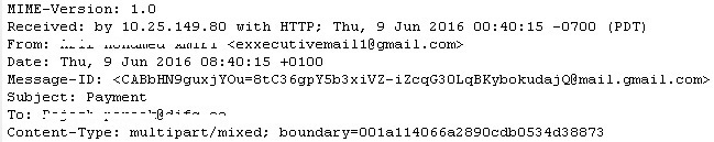 Email header malware