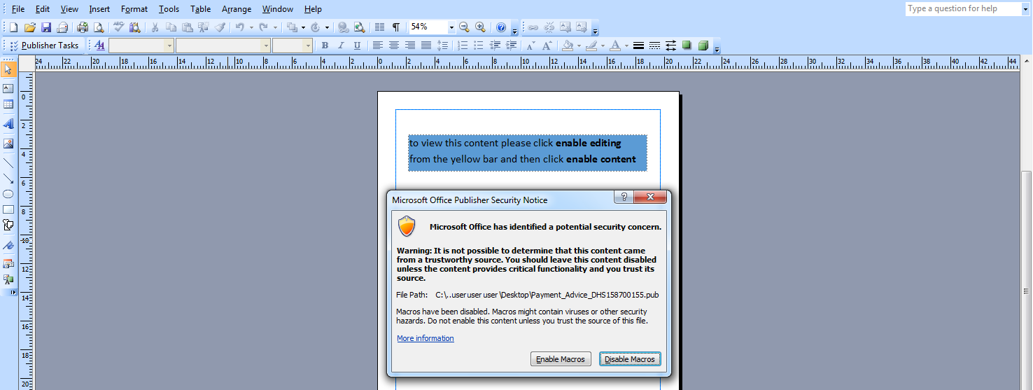 Malspam Campaign Targets Banks Using Microsoft Publisher