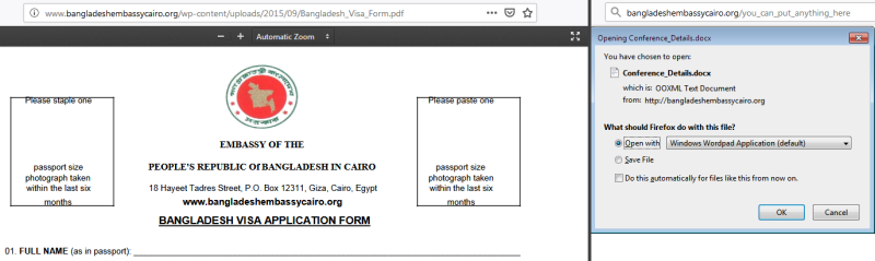Embassy compromised page