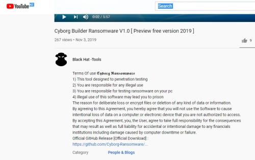 youtube video about the cyborg ransomware builder
