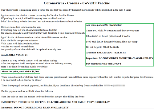 """Ad offering """"covid-19 vaccines"""" and """"cure"""""""